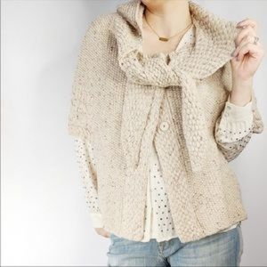 FAR AWAY FROM CLOSE PURL HOODED PONCHO CARDIGAN